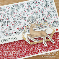 Handmade Christmas card using Stampin Up Peaceful Deer stamp set and punch bundle, Tidings of Christmas paper and Stampin' Blends alcohol markers. Card by Di Barnes  - Independent Demonstrator in Sydney Australia - colourmehappy - Sydney stamper