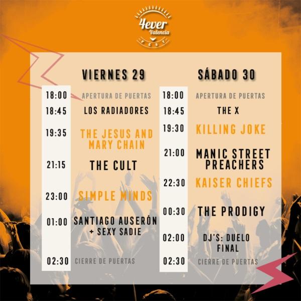 Horarios 4ever Fest València 1