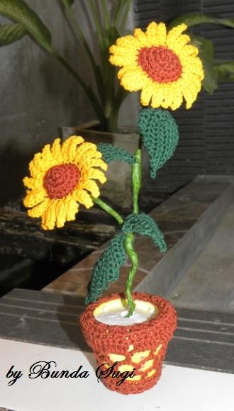 bunga matahari rajut