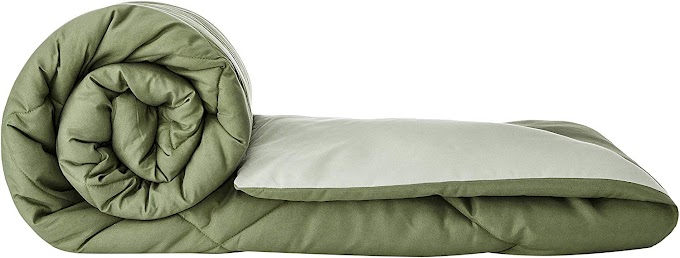 Amazon Brand - Solimo Microfibre Reversible Comforter, Double (Mossy Green & Pistachio Green, 200 GSM)