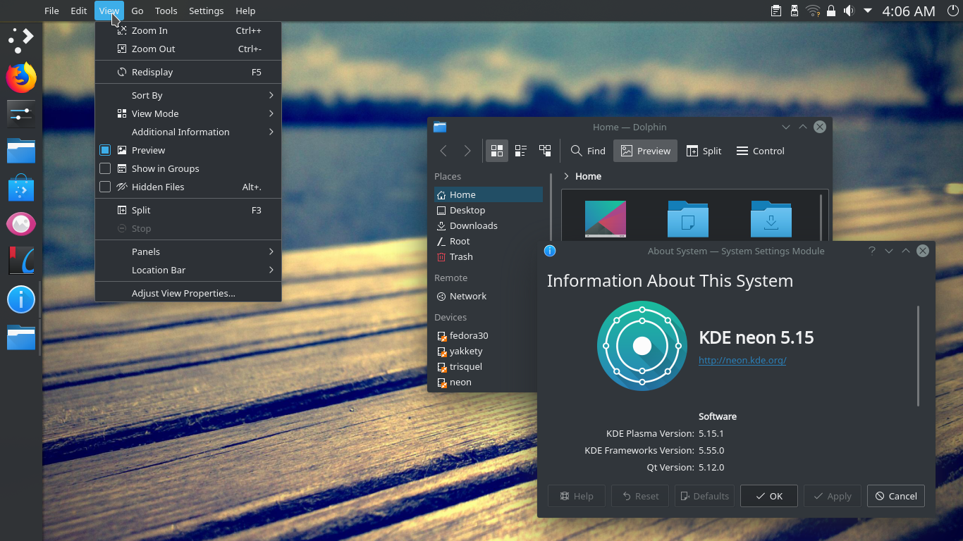 KDE Plasma Desktop + Vertical Panel + Global Menu