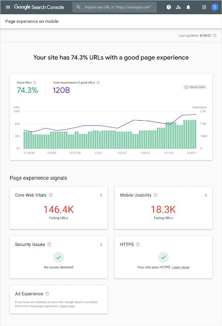 لقطة شاشة للصفحة الرئيسية لتقرير تجربة الصفحة الجديد على مشرفي المواقع