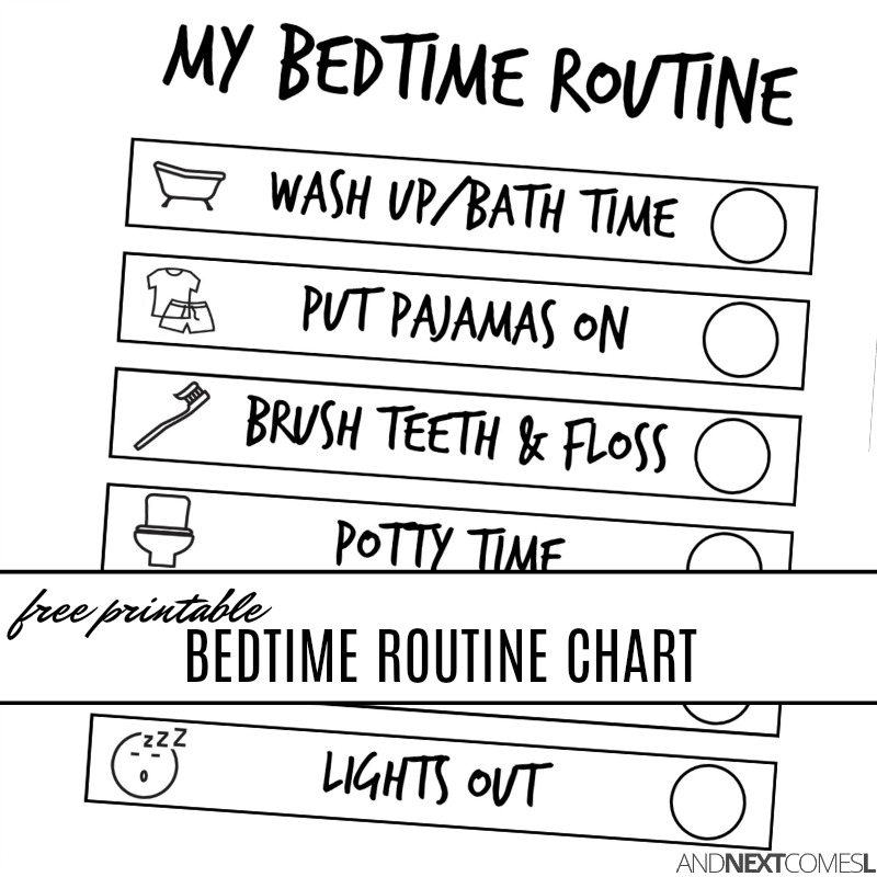 Free Printable Bedtime Visual Routine Chart for Kids | And