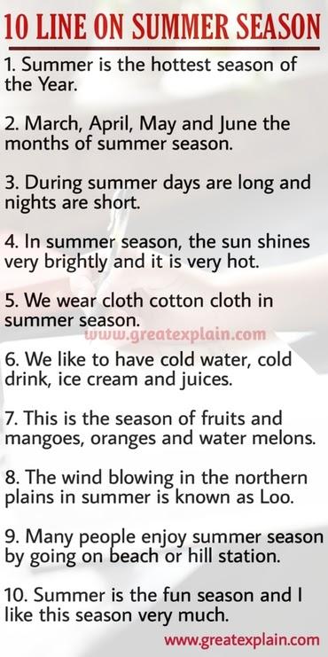 10 Lines on Summer Season