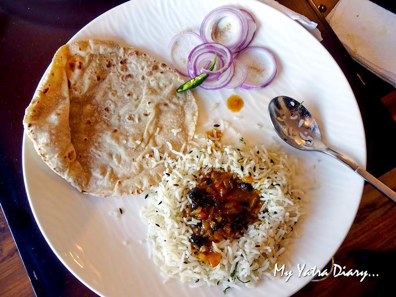 Local pahari food - bhatt ki chukarni dal at Rosewood Dhanachuli Retreat, Uttarakhand