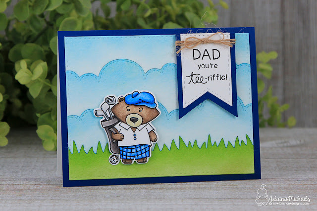 Inlaid Die Cut Cloudy Sky Background by Juliana Michaels featuring Newton's Nook Designs Sky Border Dies and Winston's Tee Time Stamp Set
