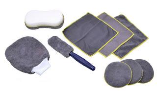 Mikrofaserset auf 9 Teilen mit Felgenbürste.