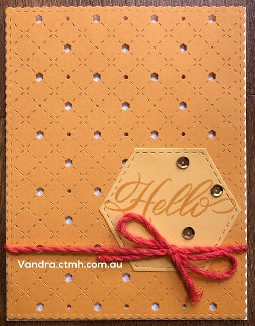#CTMHVandra, #ctmh, color dare,stitched thin cuts,hexagon,Melisa Esplin,thin cuts,3D Foam,twine,hello,cardmaking,