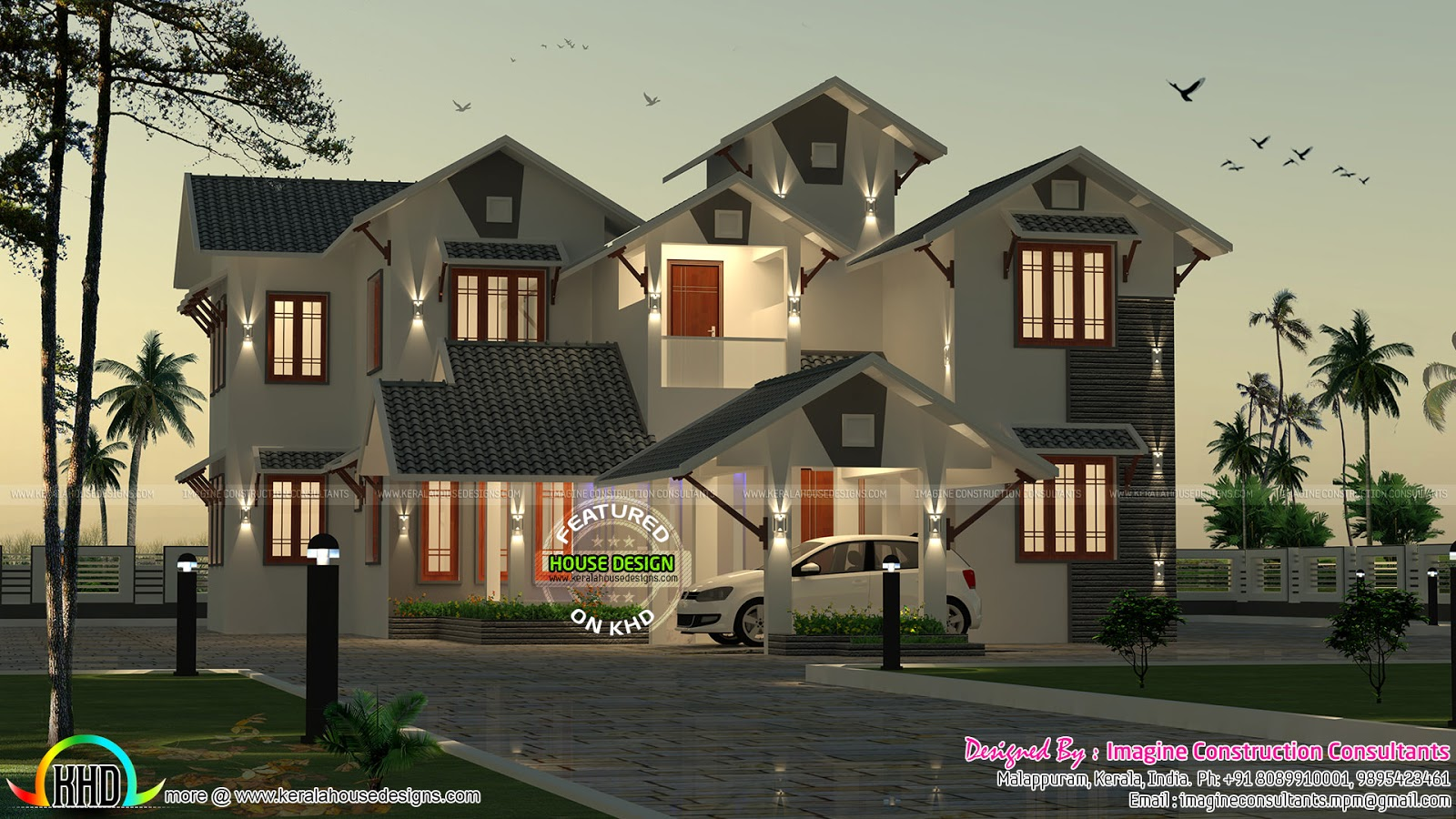 2910 Sq-ft 5 Bedroom Sloping Roof Home