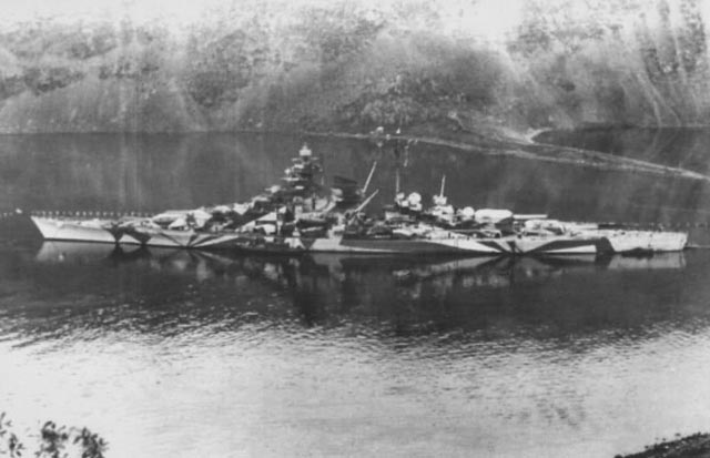 German battleship Tirpitz in Kaafjord, April 1944 worldwartwo.filminspector.com