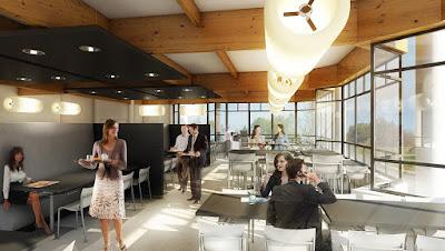 Perspective 3d restaurant d'entreprise rie Sanofi
