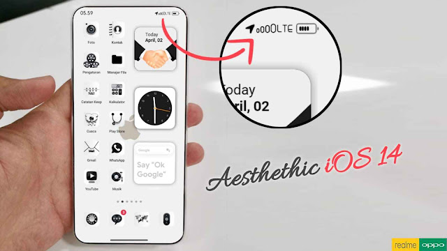Tema iOS iPhone 14 Aesthethic Untuk Oppo ColorOs 5, 6 dan 7 Serta Realme UI