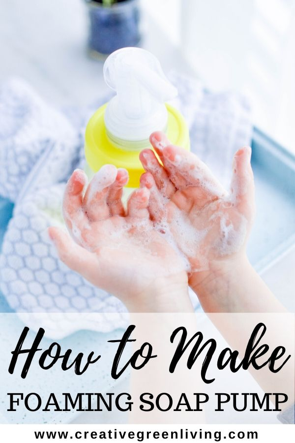 How to make a DIY foaming soap dispenser that you refill at home. Use a glass mason jar to get an adorable farmhouse look. Make one of these cute soap dispensers for the bathroom and the kitchen. This tutorial shows you the best way to make your own foaming soap dispenser step-by-step by using a plastic lid to avoid rust.