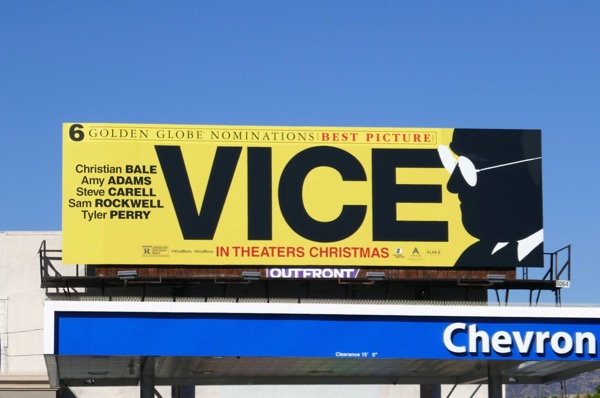 Vice Golden Globe nominee billboard