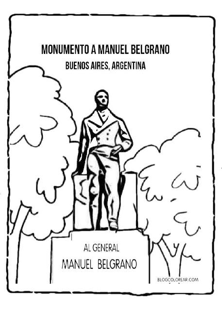 colorear monumento al General Manul Belgrano