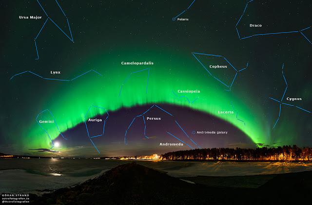 Cực quang trên bầu trời Thụy Điển. Tác giả : Göran Strand. (có chú thích)