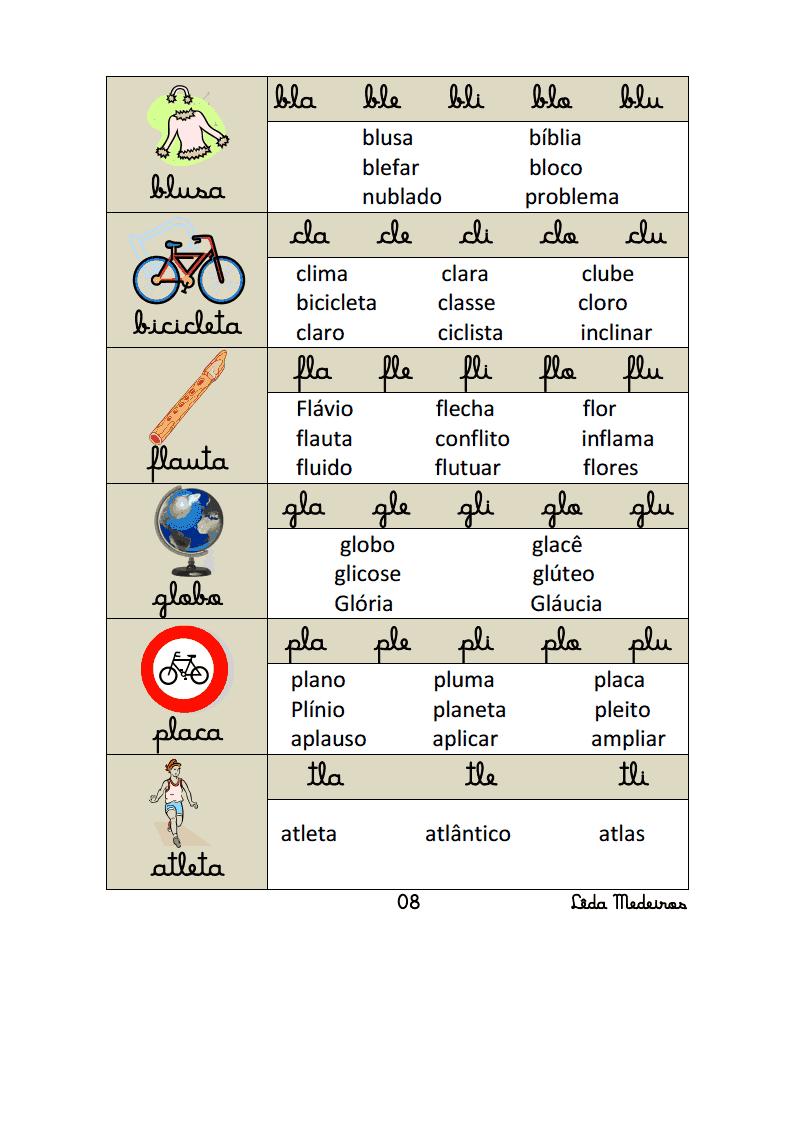 palavras com bl, cl, fl, gl, pl, tl