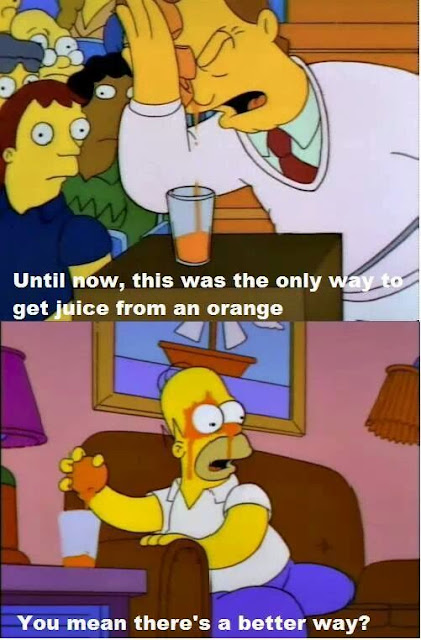 Homer squeezing Orange juice out on his forehead