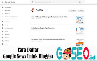Cara Daftar Google News Untuk Blogger