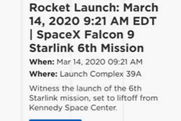 Latest launch schedule for the 6th Starlink Mission (Source: Kennedy Space Center)