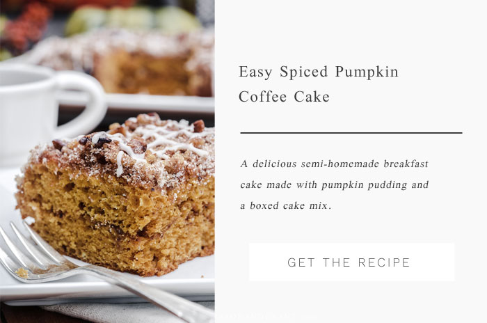 You'll love this semi-homemade Spiced Pumpkin Coffee Cake made with a boxed cake mix and pumpkin spice pudding.