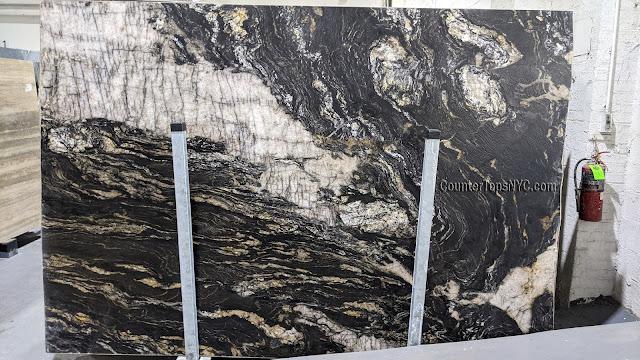 Black Leathered Granite Slab NYC