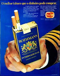 propaganda cigarros Rothmans - 1973, souza cruz anos 70, cigarros década de 70, Oswaldo Hernandez,