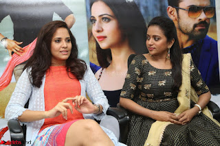 Actress Suma in Black Salwar Suit and Anusuya in orange Dress at winner movie press meet part 2 February 2017 (40).JPG
