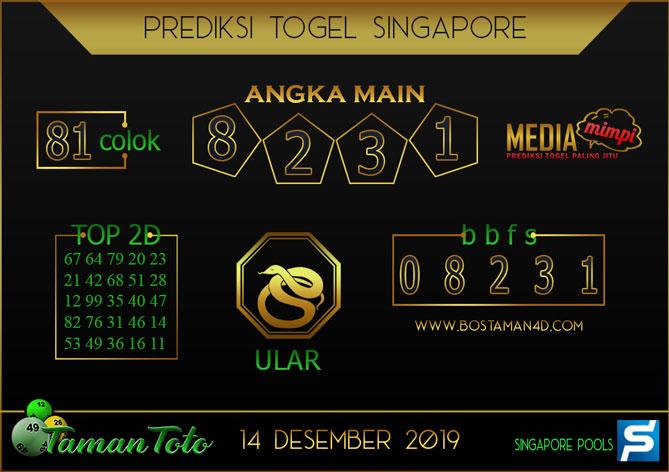 Prediksi Togel SINGAPORE TAMAN TOTO 14 DESEMBER 2019