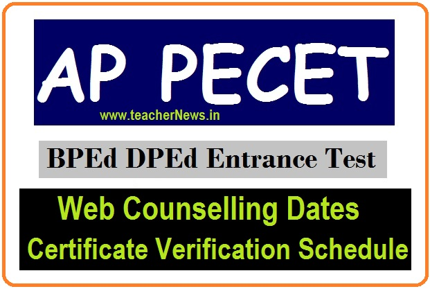 AP PECET web Counselling dates 2020 AP B.P.Ed, U.G.D.P.Ed Admission Cerifciate Verification Schedule