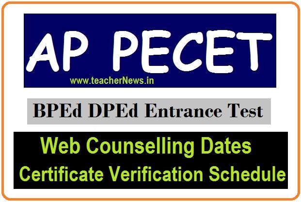 AP PECET web Counselling dates 2021 AP B.P.Ed, U.G.D.P.Ed Admission Cerifciate Verification Schedule