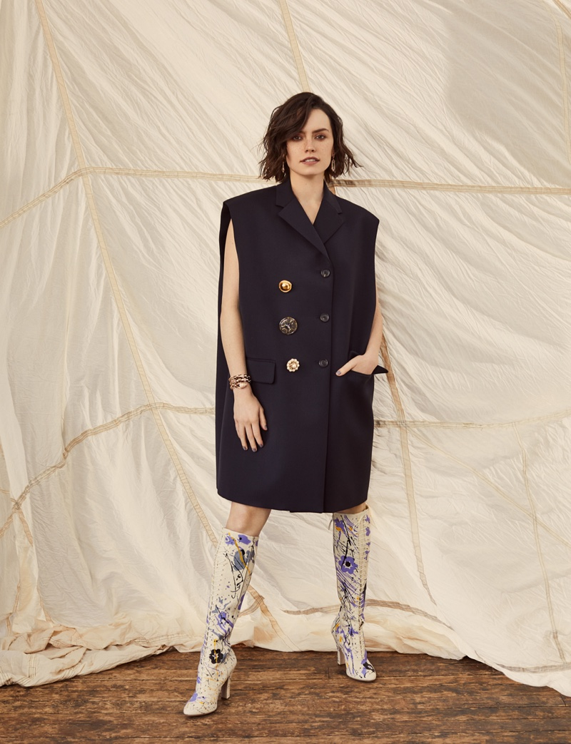 Actress Daisy Ridley poses in Miu Miu jacket and boots