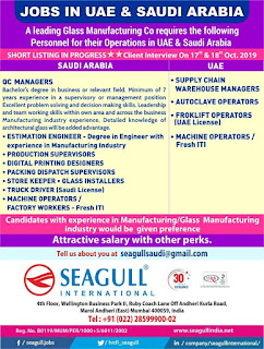 Glass Manufacturing Company Vacancies