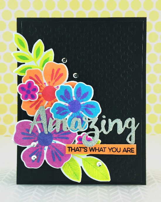 Amazing stamp set, Flashy Florals stamp set and Die-namics and Doubly Amazing Die-namics - Marcie Sharp #mftstamps