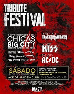 POSTER TRIBUTE FESTIVAL Rock 2018 Bogotá