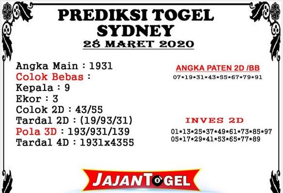 Prediksi Togel Sidney Sabtu 28 Maret 2020 - Prediksi Jajan Togel