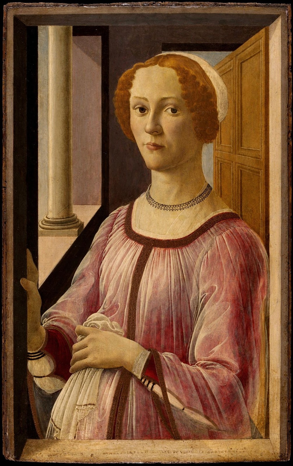 Retrato de Esmeralda Brandini. Sandro Botticelli. Hacia 1475, Temple sobre tabla, 65,7x41 cm. Londres, Victoria and Albert Museum.