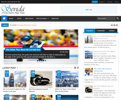 Sevida Premium Responsive Blogger Template