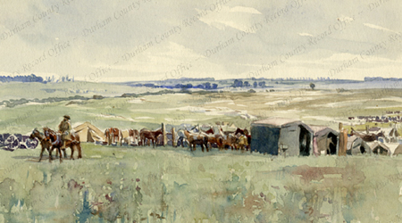 Watercolour illustration, by Robert Mauchlen, of animal transport lines in open countryside [in France], [1917] (D/DLI 7/920/11(3))