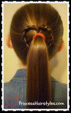 3 heart ponytails valentine's