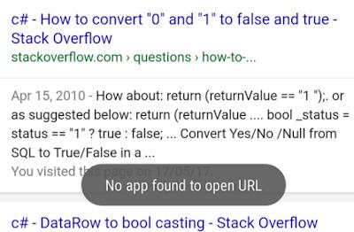 Tidak ditemukan Aplikasi Untuk Membuka URL Pada Google