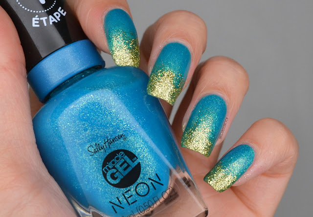 Blue and Gold Gradient Nail Art