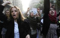 女性虐待に抗議デモ・エジプト