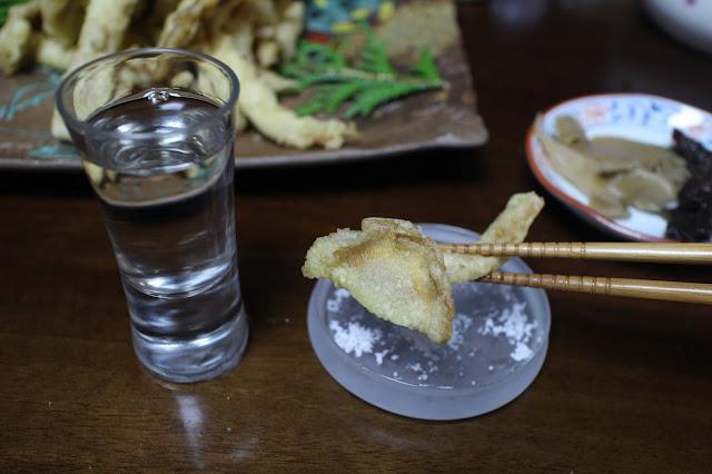 フウセンタケの天ぷら