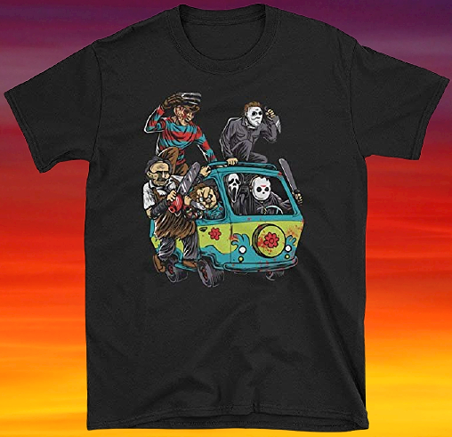 SEP 30 - RETRO 80s HORROR T-SHIRT featuring six legendary characters hitching a ride in the Mystery Machine from Scooby Doo!