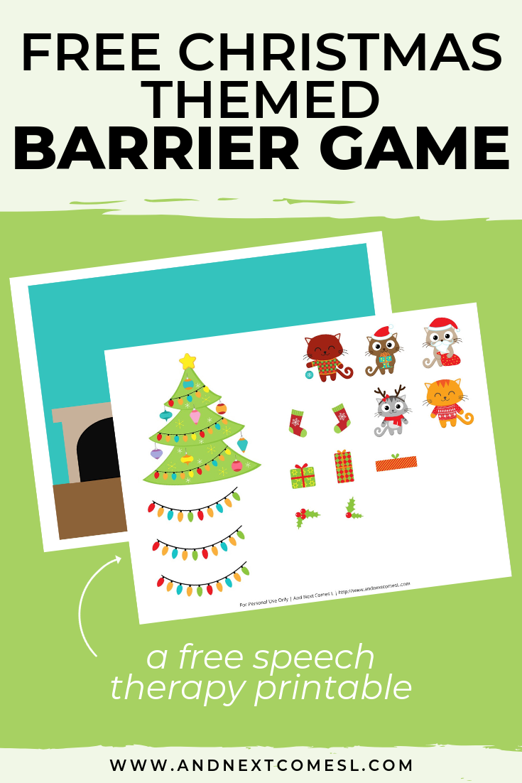 Free speech therapy barrier game: Christmas themed
