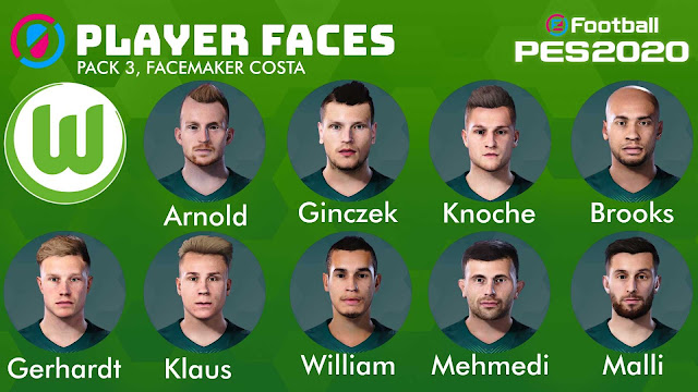 PES 2020 Wolfsburg Facepack 3 by Costa Facemaker
