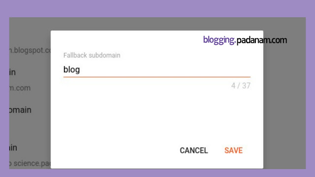 fallback subdomain in blogspot blogger blog settingup