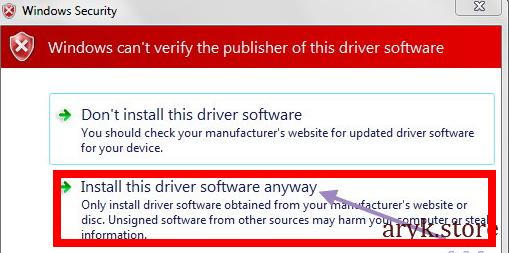 USB VCOM Drivers Install Prompt