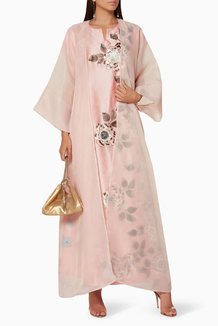 Light-Pink Floral Embroidered Dress with Cover-Up 1550 AED